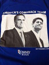 "Republican ""Comeback Team"" Romney Ryan 2012 Blue USA Made T-shirt S 34"""