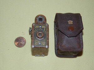 Vintage Bakelite CORONET MIDGET CAMERA Art Deco Original Leather Holder Case