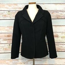 Doncaster Black Wool Jacket Blazer $350 Size 10 Button Front NWT Deconstructed