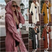 Women Long Sleeve Loose Knitted Hooded Cardigan Sweater Casual Outwear Coat