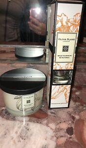 NWT Olivia Blake Pumpkin Nutmeg Holiday Scented 3 Wick Candle Diffuser Gift Set