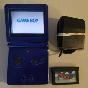Nintendo GameBoy Advance SP Cobalt Blue w/ Charger & Super Mario Advance Tested