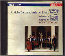 RESPIGHI Antiche Danze WOLF Serenade MALIPIERO I Solisti Italiani DENON Japan CD