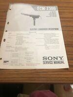 Sony ECM -Z 300 ELECTRET Condenser Microphone Service Manual