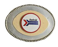 Vintage 1970s AMTRAK Belt Buckle Red White Blue Enamel Railroad Train Railroad