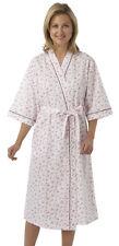 Ladies Kimono Style Wrapover Dressing Gown Pink Blue Lilac Floral Sizes 10-30