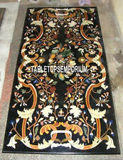 2.5'x5' Black Antique Marble Top End Dining Table Marquetry Inlay Hallway Decor