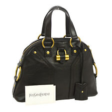 Auth Yves Saint Laurent MUSE Hand Bag Dark Brown Leather Vintage Italy BT11578