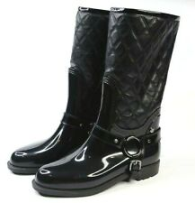 Stuart Weitzman Women's Black Leather Upper Rubber Stirrup Rain Boots Size 37EUR