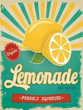 "Freshly Squeezed Lemonade Retro Vintage Tin Bar Sign Country Home Decor 10"" x 13"