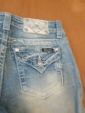 Miss Me Signature Cuffed Skinny jeans size 26 Silver Emblem American Flag