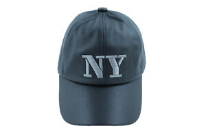 Men Women Black Faux Leather Baseball Cap NY Sport Hat New York Adjustable Size
