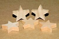 "5 pc Set New Raw Unfinished Wood Craft 3/4"" Star Lot Made in USA!"