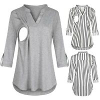 UK Pregnant Women V Neck Top Maternity Nursing Long Sleeve Striped Shirt Blouse