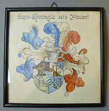 Studentika Wappen Aquarell gemalt gerahmt Bild Gemälde Saro-Thuringia um 1920