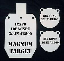 1-12x20 IDPA/ISPC & 2-8in Gongs 3/8in AR500 Steel - 3pc Metal Shooting Targets