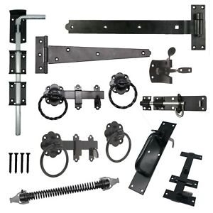 Gate Hinges Drop Bolt Spring Catch Ring Latch Plain Twisted BLACK FREE Fixings