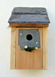 Bird House Nesting Box Wood Natural Welsh Slate Blue Tits 25 mm entrance