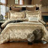Luxury Jacquard Embroidered Duvet Cover Bedding Set Gold Quilt Double King Size