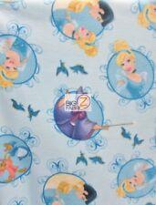 CINDERELLA BADGE BLUE BY SPRINGS CREATIVE FLEECE FABRIC FH-263 BY THE YARD