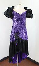 Vtg 80s Purple Black Sequin Puff Sleeve Hi Lo Formal Prom Party Dress Retro 10
