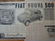 ARTICOLO NUOVA FIAT 500  -- 1960
