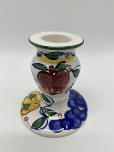 Vtg Bella Casa Ganz Hand Painted Candle Holder Fruit Apple Grape Pear Flower