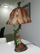 Whimsical Fishing Crocodile Table Lamp Statue Decor With Stained Glass Shade