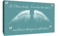 Angel Wing Wall Art Picture IF I Listen Closely Quote Canvas Print Duck Egg Blue