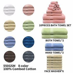 10 Pcs Luxury 100% Cotton Super Soft 550 GSM Bathroom 68x132cm Towels Hand Sets