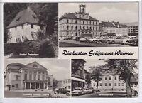 Ansichtskarte Weimar - Gartenhaus/Rathaus/Wittumspalais/National-Theater - s/w