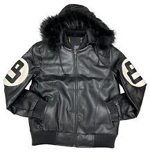 Men's Robert Phillipe Black 8 Ball Jacket with Fur Hood