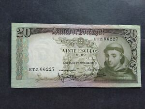 PORTUGAL 20 ESCUDOS 1964 ETZ BANKNOTE