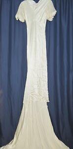 1930's Crepe Back Satin Bias Cut Wedding Gown w Train Sm