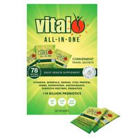 Vital All-In-One (Greens) Daily Health Supplement 30 x 10g Travel Sachets Vegan