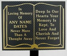 Quality Personalised Memorial Plaque Prayer Book Grave Marker Headstone Tribute