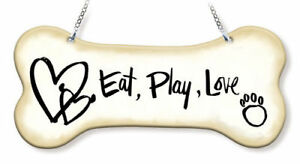 "Eat Play Love Sun Catcher Dog Bone AMIA 7"" Long Hand Painted Glass New Paw Print"