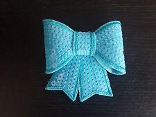 blue silver 3D sequin bow hotfix iron on Motif patch Lace xmas costume Applique