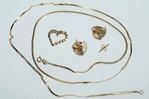 14k Yellow Gold Necklace Heart Pendant Earring Lot ~ Scrap or Wear ~ 3.20 grams