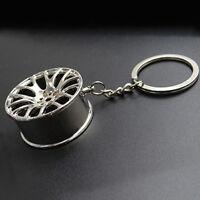 1PC Silvery Cool Luxury Metal Keychain Car Key Chain Wheel Pendant Key Ring