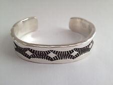 Nora Tahe Bill Signed Sterling Silver Navajo Cuff Bracelet, Heavy, Brand New #14