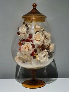 Ancien Grand Vase/Bonbonnière/Globe De Mariée En Verre Soufflé.