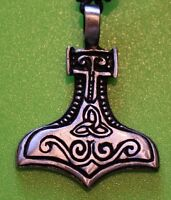 Pewter Mjolnir Thor's Hammer Pendant with Celtic Markings and Black adjust Cord