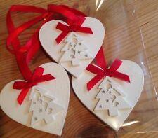 3 X Handmade Christmas Decorations Shabby Chic Christmas Tree Red