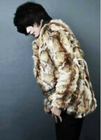 Chic Men Winter Fur Coat Faux Rabbit Fur Jacket Warm Outwear Leopard Casual Coat