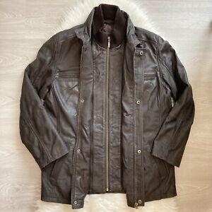 Lakeland Fine Leather Jacket Size 40 Dark Brown Lined Winter Field Jacket