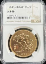 1984 Great Britain 5 Pound Gold Sovereign NGC MS 69