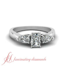 1 Ct Radiant Cut SI1-D Color Diamond Three Stone Engagement Ring 14K Gold GIA