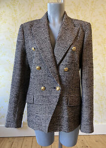 *BNWOT* ZARA double breasted retro 80s houndstooth blazer M 10 gold tone buttons