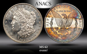 1880-S Morgan SILVER Dollar ANACS MS62 Reverse Band Toning MONSTER COLOR BU